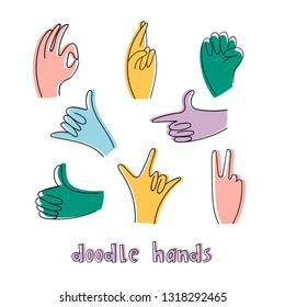 Popular hand gestures. Doodle hand drawn set. Trendy colored icons collection. Vector illustration. All elements are isolated