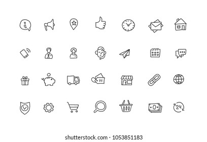 Popular icons sketch set outline line drawing by hand. Hand drawn collection black line vector illustration.