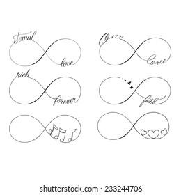 Popular infinity symbols tattoo set