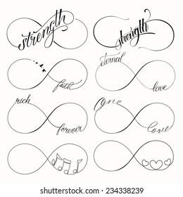 Popular infinity symbols tattoo set with 8 designs