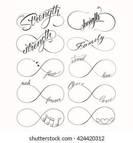 Popular infinity symbols tattoo set with 10 designs