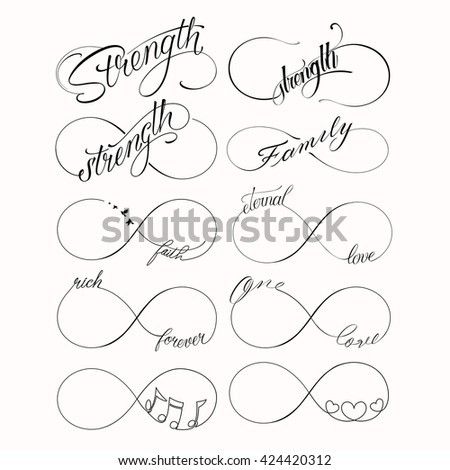 popular infinity symbols tattoo set 10 stock vector royalty free