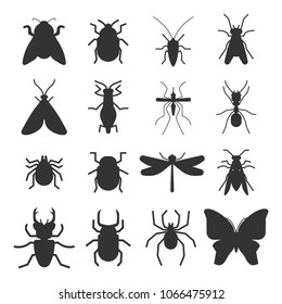 Popular insects silhouette icons isolated on white background. Vector illustration