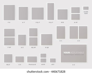 Popular Invitation Card Sizes Proportional Mock Up Chart Set Eps10 Format