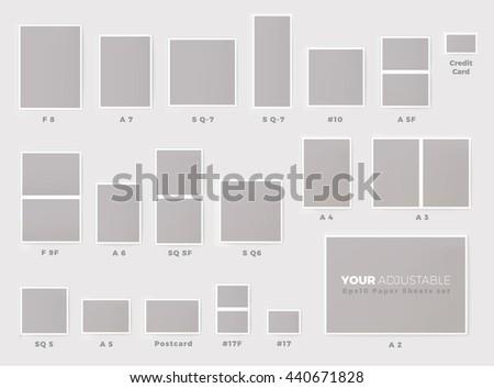 popular invitation card sizes proportional mock up chart set eps10 format - Invitation Card Size