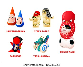 Popular Japanese folk animal and zen toys isolated