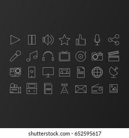 Popular multimedia fine line modern icon set on the dark background