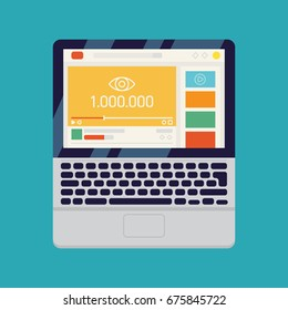 Popular online video with one million views vector concept illustration with abstract online video sharing web site on laptop monitor