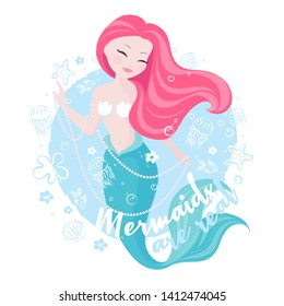 Popular pastel mermaid set. Happy and beautiful mermaid on blue background. Print for t shirts or kids fashion artworks, children books. Fashion illustration drawing in modern style. Cute mermaid with