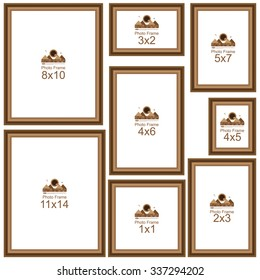 Popular Picture Frame Sizes. Wood border. Frame for picture or text. Border for Certificate of Education. Uniquely beautiful stripes. Sizes  4x6, 5x7, 8x10, 11x14, 12x12, 16x20, 24x36, 8x12.
