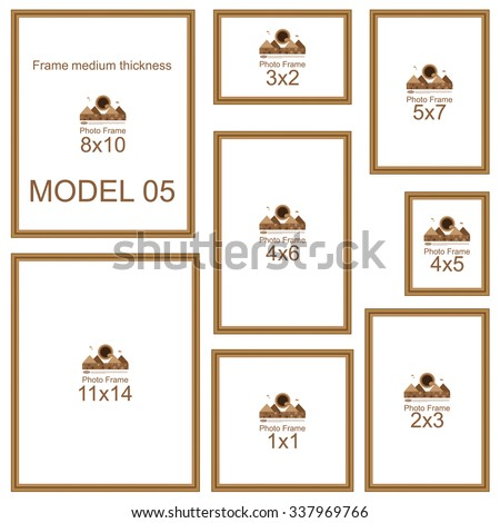 Popular Picture Frame Sizes Wood Border Stock Vector Royalty Free