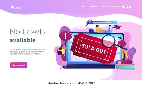 Popular show, best concerts and music festivals searching. Online booking system. Sold-out event, sold-out crowd, no tickets available concept. Website homepage landing web page template.
