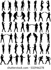 Popular singer super star vector silhouette illustration isolated on white background. Attractive music artists on the stage big group. Singer woman, girl, man, boy artist against public on concert.