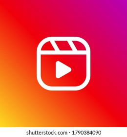 Popular social media Instagram reels button, play button modern vector icon on a gradient background