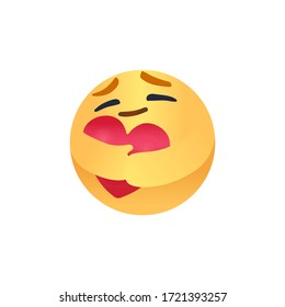 Popular Social Media New care emoji We are in this together design isolated vector file. Round Yellow cartoon hugging heart love design for use in chat, email, massage and comment.
