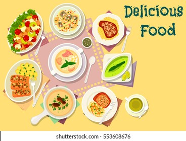 Popular soup with meat and fish dishes icon of chicken celery salad, pork cutlet with cheese crust, mushroom cream soup, chicken ham soup, baked pork and fish with mushroom and nuts, herring salad