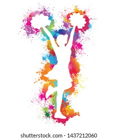 Popular sports, Cheerleader, Dancing colorful girl splash paint on white background, Logo, Icon, Symbol, Silhouette, Vector illustration.