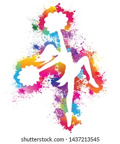 Popular sports, Cheerleader, Dancing colorful girl splash paint on white background, Exercise, Logo, Icon, Symbol, Silhouette, Vector illustration.
