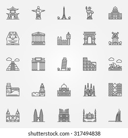 Popular travel landmarks icons - vector set of thin line monuments symbols or logo elements