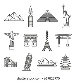 Popular travel landmarks: thin monochrome icon set, black and white kit