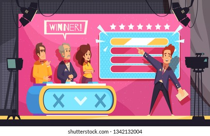 Popular tv guess word game television show final moment cartoon composition with host contestants winner vector illustration