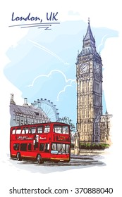 Popular view of busy Parliament Square with Big Ben and double decker bus. Sketch imitating ink pen scribbling in a notepad. Sketch is isolated on a separate layer. EPS10 vector illustration.