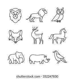 Popular wild life animals thin line art icons set. Modern black symbols isolated on white for infographics or web use.