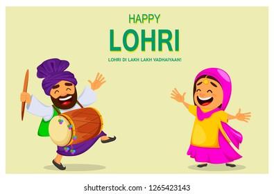 Popular winter Punjabi folk festival Lohri. Funny Indian woman and Sikh man celebrating holiday. Cartoon characters dancing. Vector illustration for sale, banner, poster