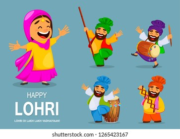 Popular winter Punjabi folk festival Lohri. Funny Indian woman and Sikh man celebrating holiday. Cartoon characters dancing, set of five poses. Vector illustration for sale, banner, poster