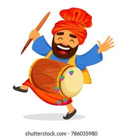 Popular winter Punjabi folk festival Lohri. Funny dancing Sikh man with drum, cartoon character. Vector illustration on white background
