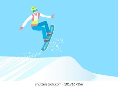 Popular winter sport. Snowboarder make high jump from springboard. Professional Snowboarding. Vector illustration EPS-8.