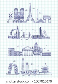Popular word cities outline panorama on notebook page. Building panorama cityscape london and rome, paris and hong kong illustration