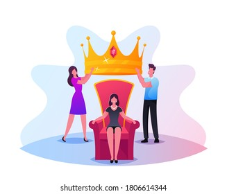 Popularity, Fame Concept. Tiny Male and Female Characters Put Huge Royal Crown on Woman Head Sitting on Throne. People Cult to Human Idol, Popular Internet Vlogger or Star. Cartoon Vector Illustration