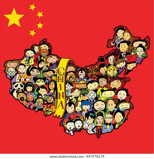 Population of China. Cartoon Chinese people set.