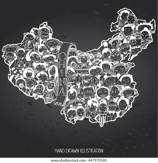 Population of China. Cartoon Chinese people set. Hand-drawn on Gray Chalkboard