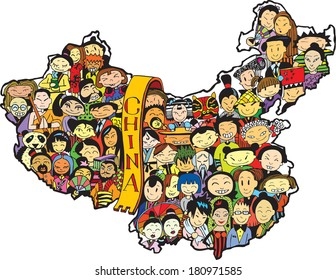 Population of China in Color (vector eps10)