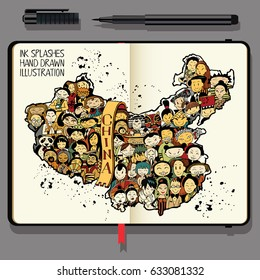 Population of China. Vector Notebooks with Fine Liner Pen and Hand Drawn Doodles.