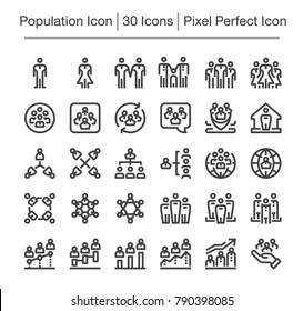 population line icon,editable stroke,pixel perfect icon