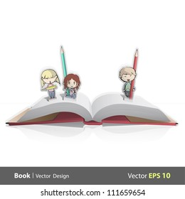 Pop-up book card with three friends drawing. Vector illustration.