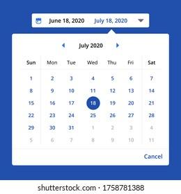 popup date picker components ui website concept vector eps 10