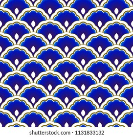 porcelain blue and gold simple art decor wave pattern, Chinese background for design, Chinaware,  pottery, texture, fabric, wall and ceramic, vector illustration, beautiful wallpaper seamless