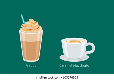 Porcelain cup on saucer with caramel macchiato flat vector. Sweet invigorating drink with caffeine. Tasty frappe with milk and nasty additives illustration for coffee house and cafe menus design