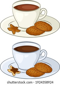 Porcelain Cups with a Drink, Hot Coffee or Cocoa and Cookies on Saucers. Vector