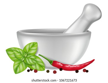 Porcelain mortar and pestle with oregano, red chili pepper and peppercorns. Vector illustration.