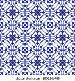 porcelain pattern, ceramic seamless decor, blue and white modern background for design. chinaware, pottery, earthenware, mosaic, texture, indigo, textile, batik, beautiful China wallpaper, vector
