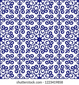 porcelain pattern Chinese and Japanese style, blue and white seamless ceramic design, baroque floral decorative wallpaper decor vector illustration