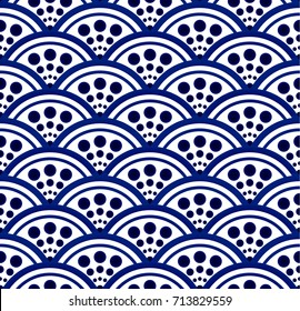 porcelain pattern, Seamless porcelain indigo blue and white simple art decor wave pattern vector, Chinese blue pattern