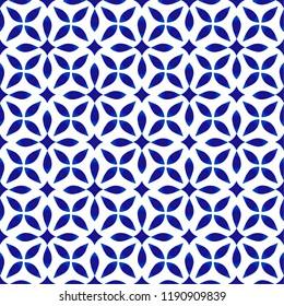 porcelain pattern, seamless modern ceramic design, blue and white floral background vector illustration