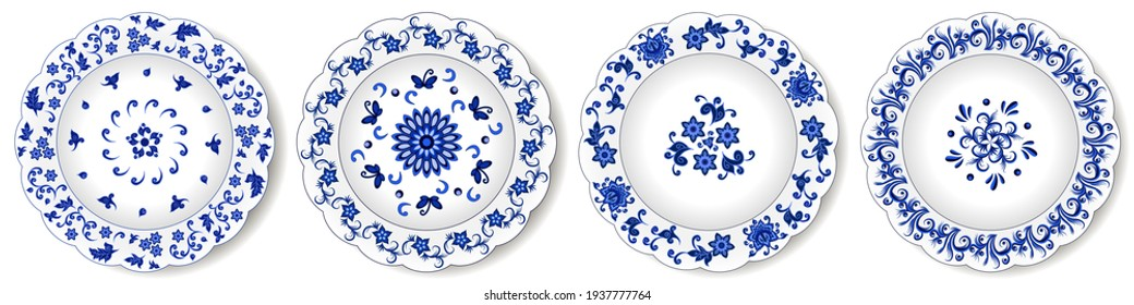 Porcelain plates, blue on white oriental ornament. Abstract floral pattern with Indian and Chinese decorative elements. Isolated on white background. Vector illustration
