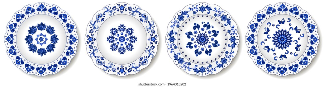 Porcelain plates, blue on white pattern in oriental asian style. Abstract floral ornament with Chinese and Indian design  motives. Decorative plate or dish isolated. Vector illustration